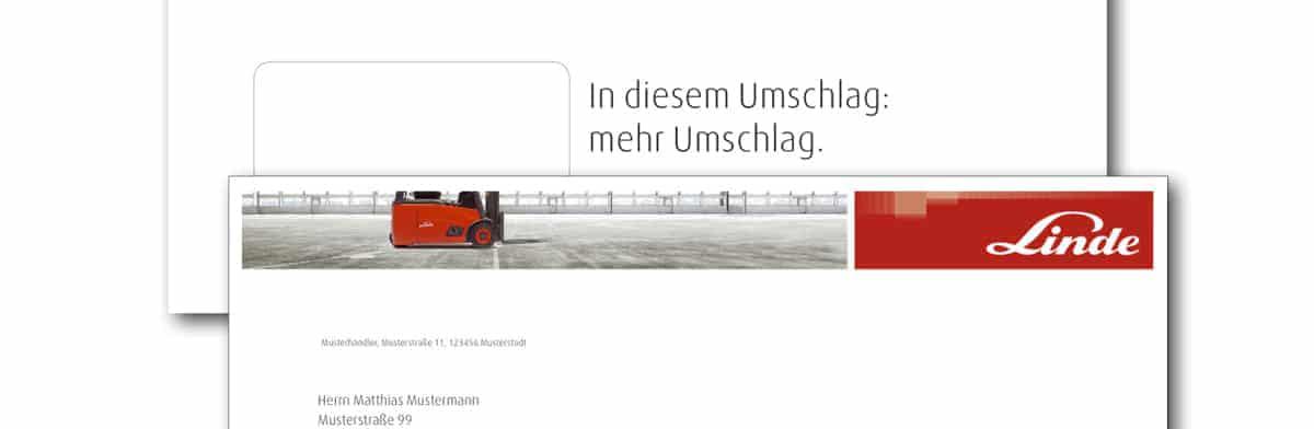 """""""In diesem Umschlag: mehr Umschlag"""" – Headline von Johannes Faupel für Linde Material Handling"""